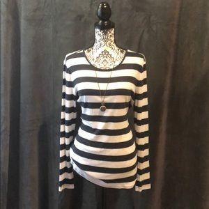 Navy blue and white horizontal striped T-shirt